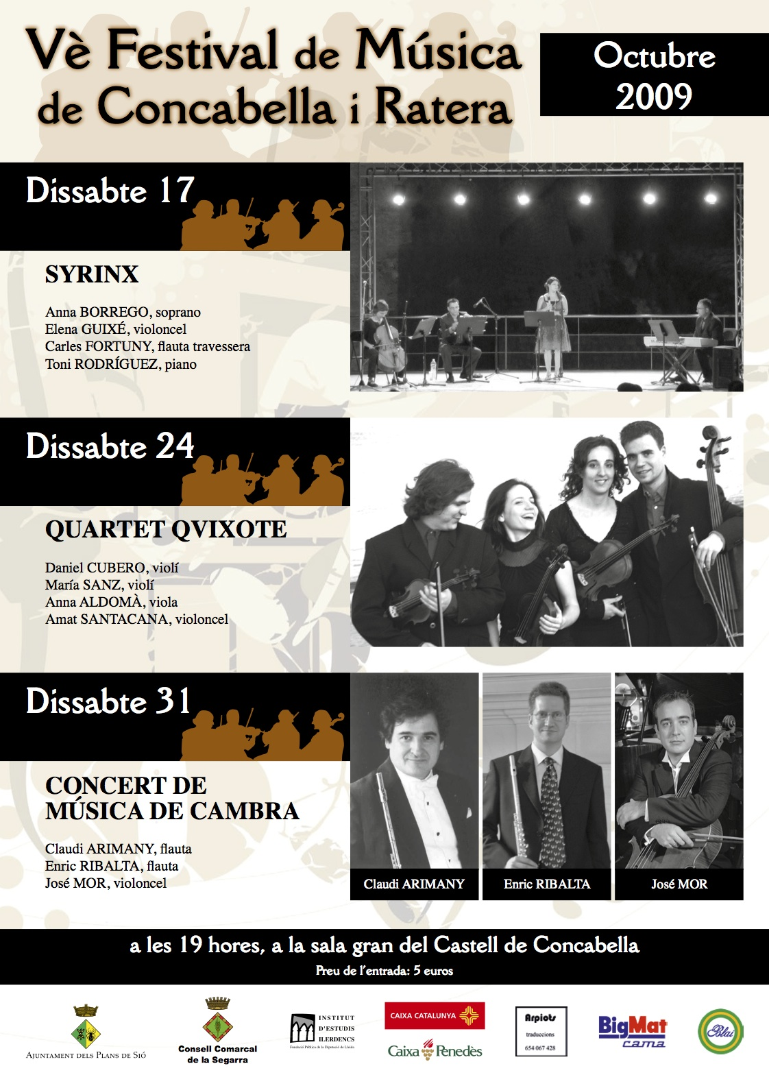 Cartell del Festival de Música al Castell 2009